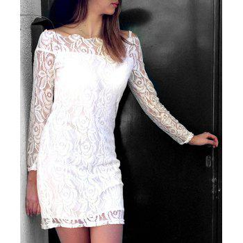 Off-The-Shoulder Long Sleeve Crochet Lace Dress