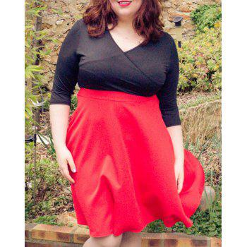 Sexy 3/4 Sleeve Plunging Neck Red and Black Spliced Women's Plus Size Dress
