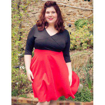 Sexy 3/4 Sleeve Plunging Neck Red and Black Spliced Women's Plus Size Dress - RED XL