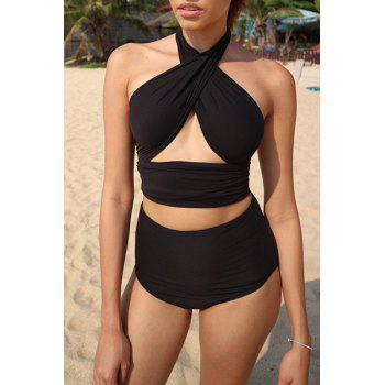 Stylish Halter High-Waisted Solid Color Two-Piece Women's Bandage Swimsuit