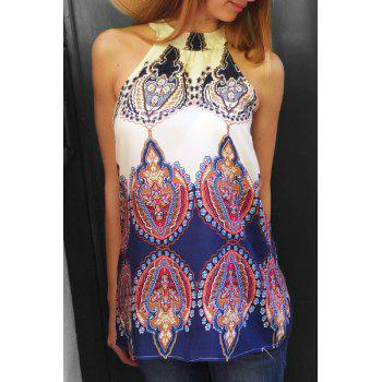 Ethnic Women's Round Neck Sleeveless Printed For Dress