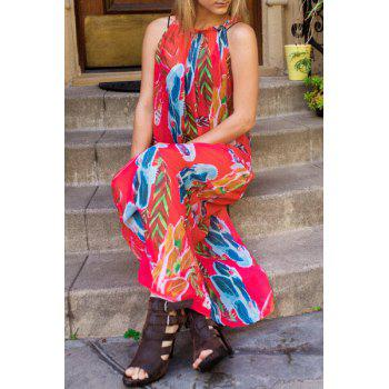 Bohemian Style Sleeveless Colorful Floral Printed Chiffon Maxi Dress For Women