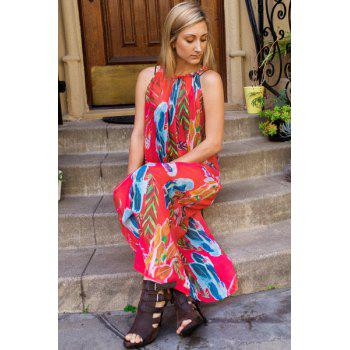 Bohemian Style Sleeveless Colorful Floral Printed Chiffon Maxi Dress For Women - ROSE XL