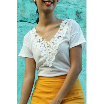 Sweet White V-Neck Lace Spliced Short Sleeve T-Shirt For Women
