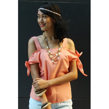 Sweet Spaghetti Strap Solid Color Cut Out Women's Blouse - PINK PINK