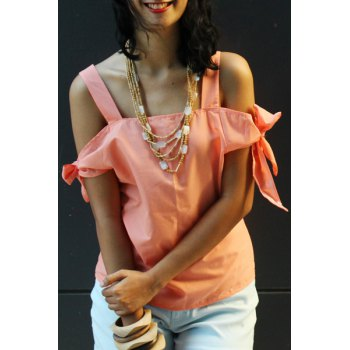 Sweet Spaghetti Strap Solid Color Cut Out Women's Blouse