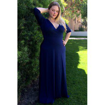 Women's Plunging Neckline 3/4 Sleeve Plus Size Solid Color Dress - 3XL 3XL