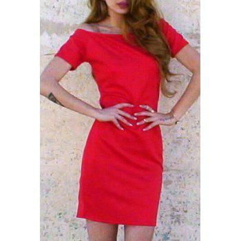 Alluring Short Sleeve Off-The-Shoulder Pure Color Women's Dress