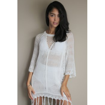 Sexy Scoop Neck Fringed Openwork Cover Up For Women - WHITE WHITE