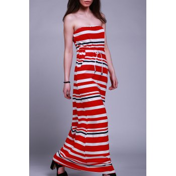Strapless Striped Drawstring Maxi Dress For Women