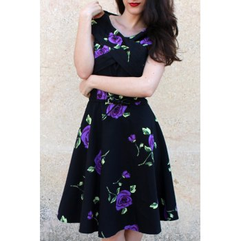 Retro Style Rose Print V-Neck Short Sleeve Ball Dress For Women