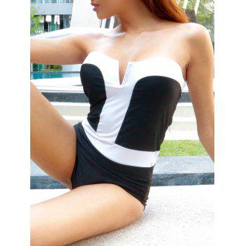 Alluring Women's Strapless Color Splicing One-Piece Swimsuit - WHITE AND BLACK L