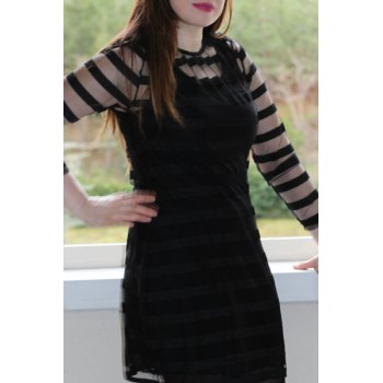 Casual 3/4 Sleeve Round Collar See-Through Women's Club Dress - XL XL