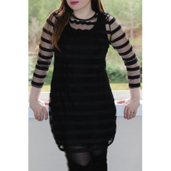 Casual 3/4 Sleeve Round Collar See-Through Women's Club Dress