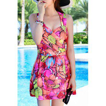 Fashionable Floral Print Criss-Cross Two-Piece Women's Swimsuit - ROSE XL