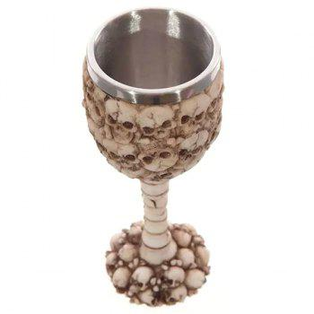 Stylish 400ML 3D Skull Pattern Stainless Steel Goblet Cup - LIGHT BROWN