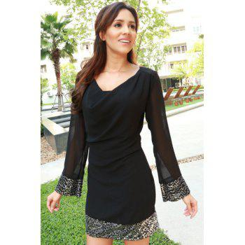 Stylish Long Sleeve Cowl Neck Voile Spliced See-Through Women's Dress - BLACK S