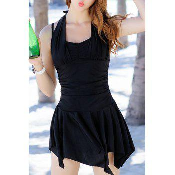 Chic Halter Solid Color Asymmetrical Two-Piece Women's Swimsuit