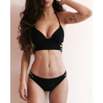 Halter Strappy Push Up Ensemble de bikini - Noir M