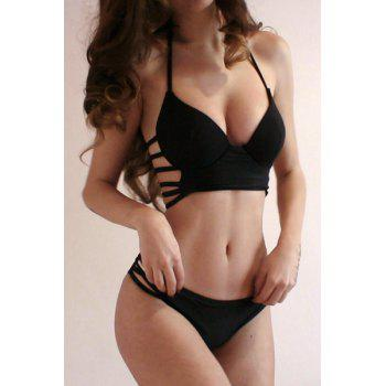 Halter Strappy Push Up Bikini Set