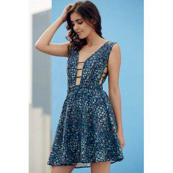 Stylish Plunging Neck Sleeveless Vintage Print Women's Dress - L L