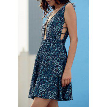 Buy Stylish Plunging Neck Sleeveless Vintage Print Women's Dress