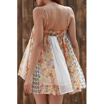 Stylish Cami Floral Print See-Through Women's Tank Top - COLORMIX L