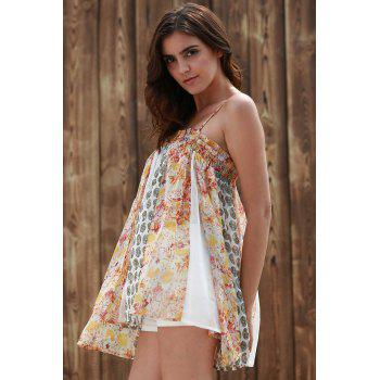 Cami Floral Imprimer élégant See-Through Tank Top Women - multicolorcolore L