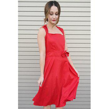 Vintage Turn-Down Collar Sleeveless Bowknot Embellished Solid Color Women's Dress - RED M