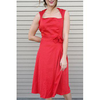 Vintage Turn-Down Collar Sleeveless Bowknot Embellished Solid Color Women's Dress - RED L