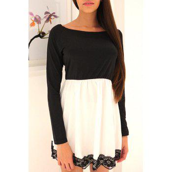 Color Block Lace Hem Fit and Flare Dress - WHITE AND BLACK XL