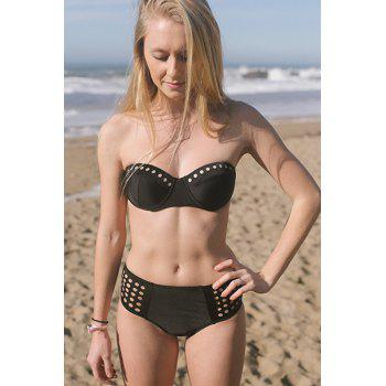 Alluring Push Up Solid Color Hollow Out Women's Bikini Set - BLACK L