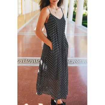 Bohemian Style Women's Strappy Polka Dot Baggy Maxi Dress