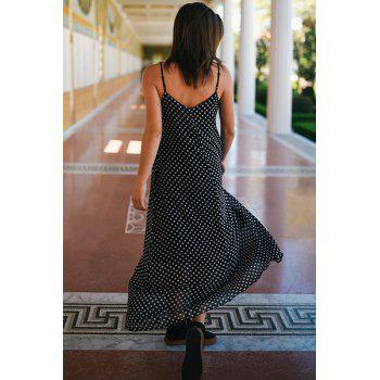 Bohemian Style Women's Strappy Polka Dot Baggy Maxi Dress - BLACK BLACK