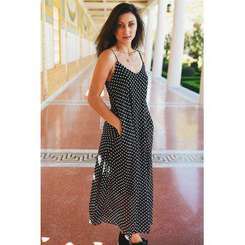 Bohemian Style Women's Strappy Polka Dot Baggy Maxi Dress - BLACK S