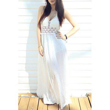 Sexy Halter Hollow Out Spliced Women's Maxi Dress