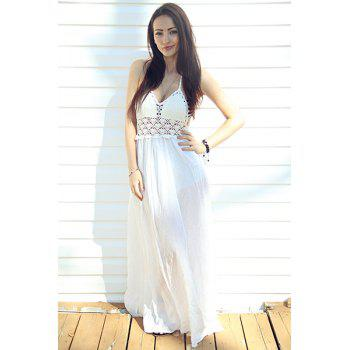 Sexy Halter Hollow Out Spliced Women's Maxi Dress - WHITE M