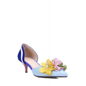 Sweet Flower and Color Block Design Pumps For Women