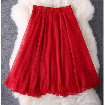 Chic High-Waisted Solid Color Slimming Chiffon Women's Skirt