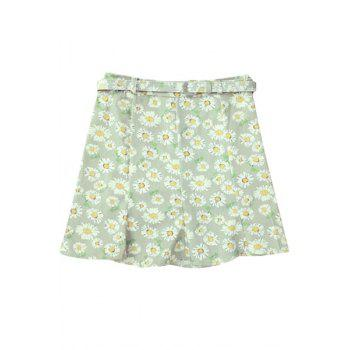 Stylish High Waist Flounce Ruffles Daisy Print Women's Skirt