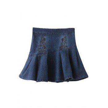 Stylish High Waist Embroidery Denim A Line Women's Skirt