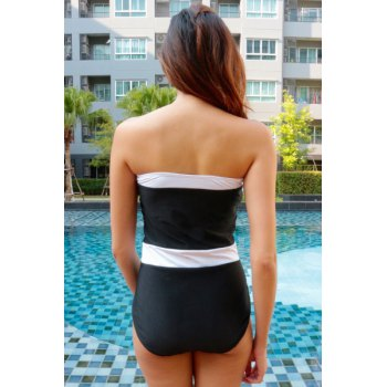 Alluring Women's Strapless Color Splicing One-Piece Swimsuit - L L