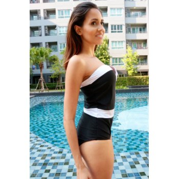 Alluring Women's Strapless Color Splicing One-Piece Swimsuit - AS THE PICTURE AS THE PICTURE