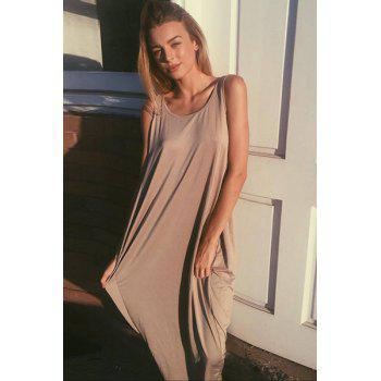 Casual Women's U Neck Sleeveless Backless Loose-Fitting Dress - L L