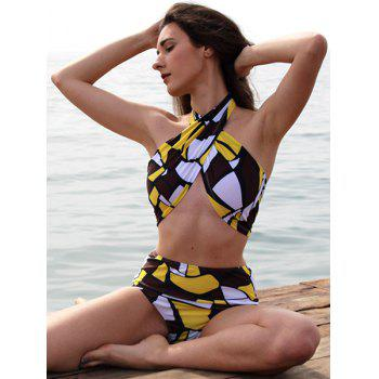 Halter Printed High-Waisted Bikini Set - M M