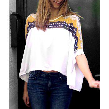 Print Color Block Round Collar Bat-Wing Sleeve Irregular Hem Stylish Women's T-shirt