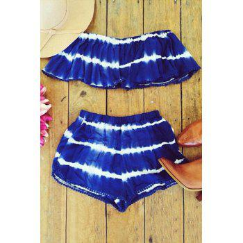 Stylish Off The Shoulder Cropped Top and Striped Shorts Twinset For Women - BLUE S