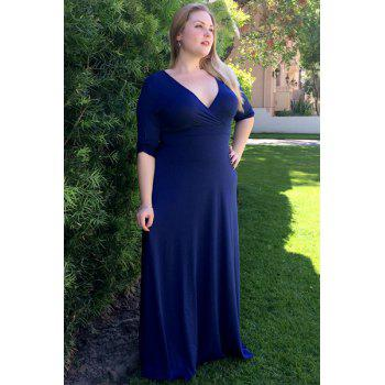 Women's Plunging Neckline 3/4 Sleeve Plus Size Solid Color Dress - BLUE BLUE