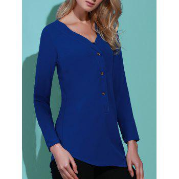 Refreshing Solid Color V-Neck Long Sleeve Loose Blouse For Women - SAPPHIRE BLUE S