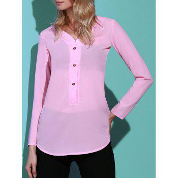 Refreshing Solid Color V-Neck Long Sleeve Loose Blouse For Women - PINK M